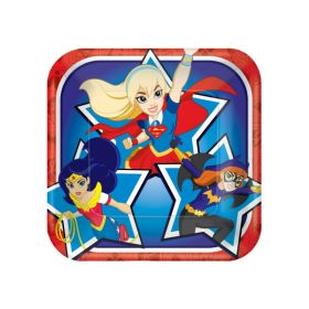 DC Super Hero Girl Square Paper Plates pk8 - 18cm