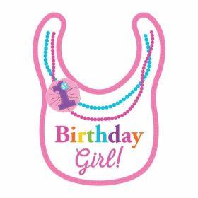 Rainbow 1st Birthday Girl Fabric Bib
