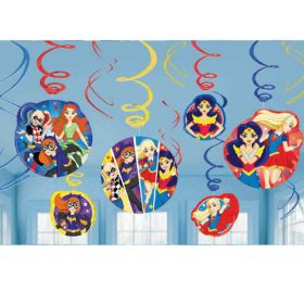 DC Super Hero Girls Hanging Swirl Decorations pk12