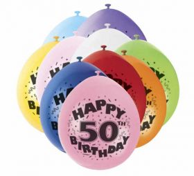 50th Happy Birthday Latex Balloons 10pk