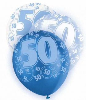 Blue Glitz 50 All Over Print Party Balloons 6pk