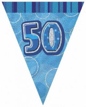 Blue Glitz 50 Party Flag Banner, 9ft