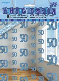 Blue Glitz 50 Hanging String Party Decoration (6 Strings)