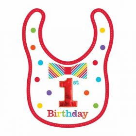 Rainbow 1st Birthday Boy Fabric Bib