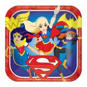 DC Super Hero Girl Square Paper Plates pk8 - 23cm