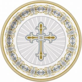 "Gold & Silver Radiant Cross 7"" Plates, pk8"