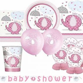 Umbrellaphants Pink Ultimate Baby Shower Party Supplies Kit for 8