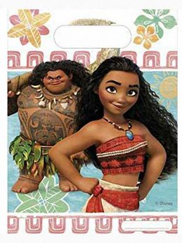 Moana Plastic Party Bags, pk6