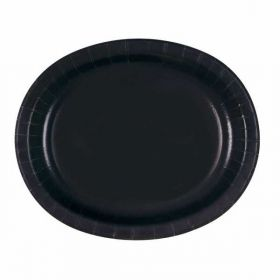 Black Oval Serving Plates pk8