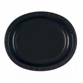 Black Oval Serving Plates pk8