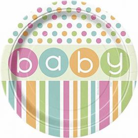 Pastel baby Shower Plates pk8