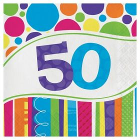 50th Bright & Bold Napkins pk18