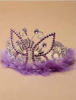 Silv Plastic Tiara Butterfly Design