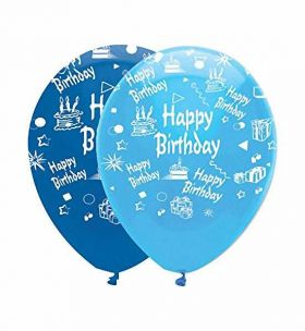 Happy birthday latex balloons- blue mix, pk6
