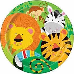 "Animal Jungle Plates pk8 9"""