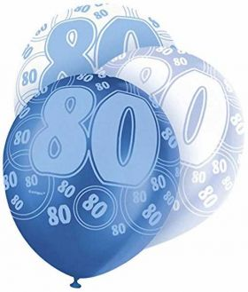 Glitz Blue 80th birthday balloons, pk6