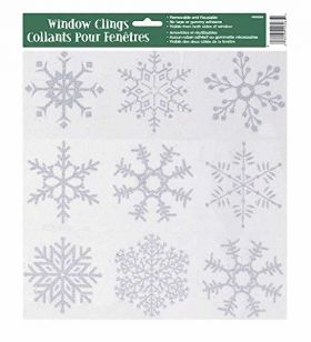 Silver Glitter Snowflake Christmas Window Clings