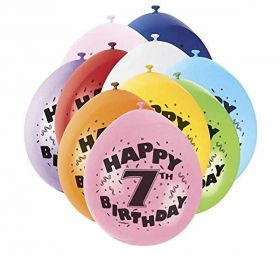 Happy 7th Birthday Balloons pk10