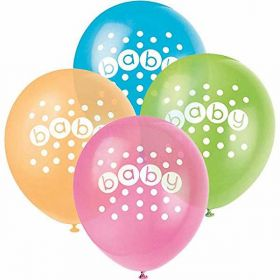 Pastel Baby Shower Baby Latex Balloons pk8