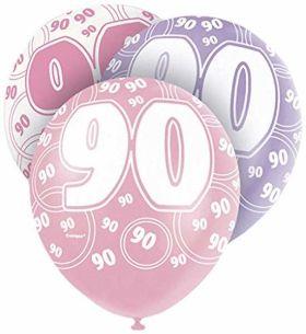 Age 90 Pink glitz balloons, 12 ins, pk6