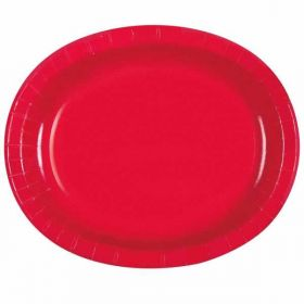 Red Oval Serving Plates pk8
