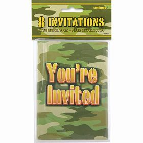 Camouflage Invitations pk8