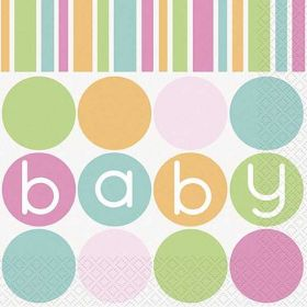 Pastel Baby Shower Party Napkins pk16