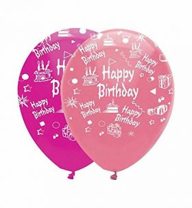 Happy birthday latex balloons, pink mix, pk6