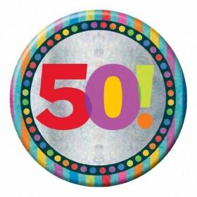 Large Holographic 50th Birthday Badge