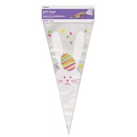 Easter Bunny Cone Shaped Cello Bags pk20