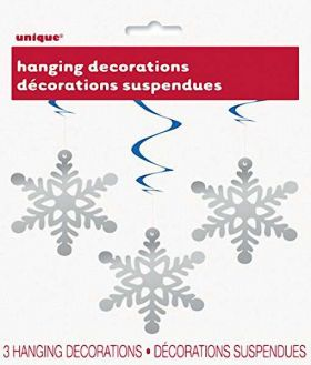 Hanging Swirl Snowflake Christmas Decorations pk3