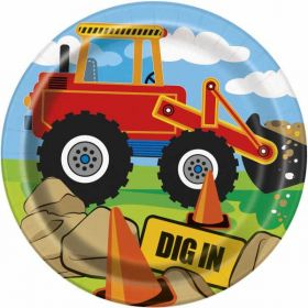"Construction Party Paper Plates 7"" pk8"