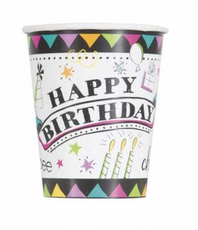 Doodle Birthday Cups pk8