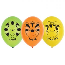 Jungle Friends 4 Sided Print Latex Balloons pk6