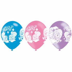 Shimmer & Shine 4 Sided Print Latex Balloons pk6