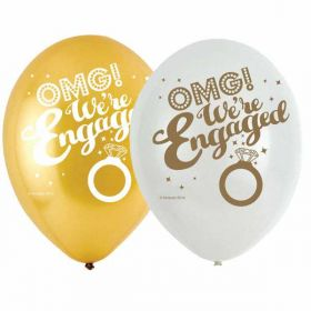 OMG! We're Engaged 4 Sided Print Latex Balloons pk6