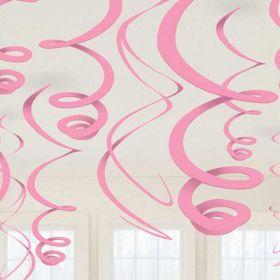 New Pink Plastic Swirls 55cm 12pk