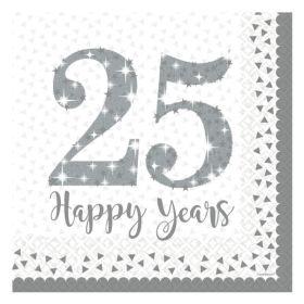 Sparkling Silver Anniversary Napkins pk16
