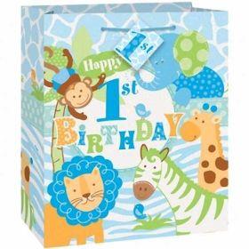 Blue Safari 1st Birthday Medium Gift Bag