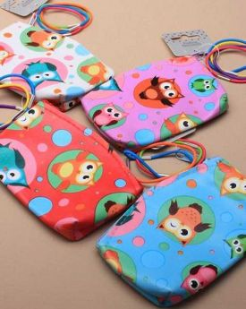 Owl and Spot Print Purse & 4 Thin Bright Elastics
