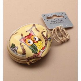 Owl Printed Round Purse with Elastics
