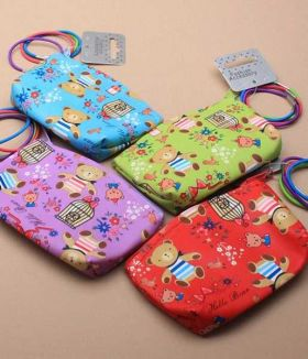 Teddy Bear Print Bright Coloured Purse & 4 Thin Elastics