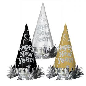 Black Silver Gold New Year Cone Hats 23cm pk12