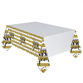 Golden New Year Plastic Tablecover 1.37 x 2.59m