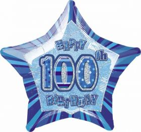 Blue Glitz Star 100 Foil Party Balloon