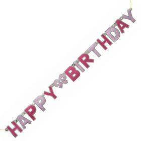 Pink Glitz Happy Birthday Jointed Banner