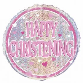 Happy Christening Prismatic Foil Balloon - Pink