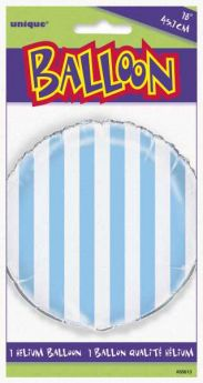 "Powder Blue Striped 18"" Foil Balloon"