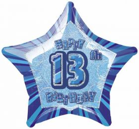 Blue Glitz Star 13 Foil Party Balloon