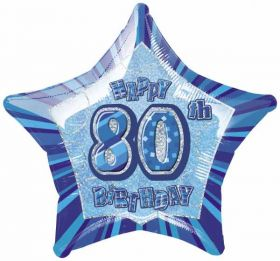 Blue Glitz Star 80 Foil Party Balloon